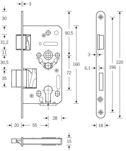 einsteckschloss sf serie 23 tgl standard din 18251 f r. Black Bedroom Furniture Sets. Home Design Ideas