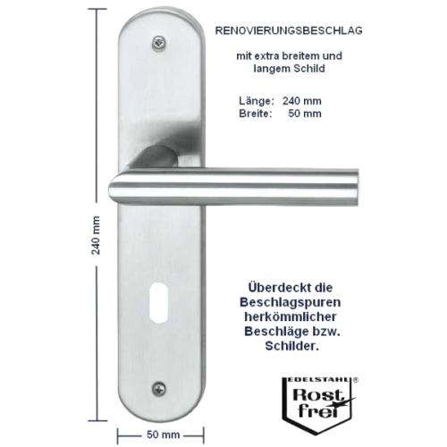 Hervorragend Günstige Renovierungsbeschläge in Edelstahl mit Langschild für MT07